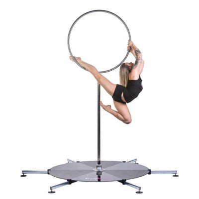 A lupit lollipop on a lupit portable freestanding dance pole stage