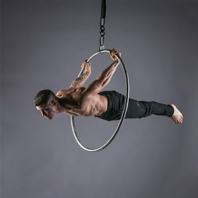A man on a Lupit Lyra Hoop