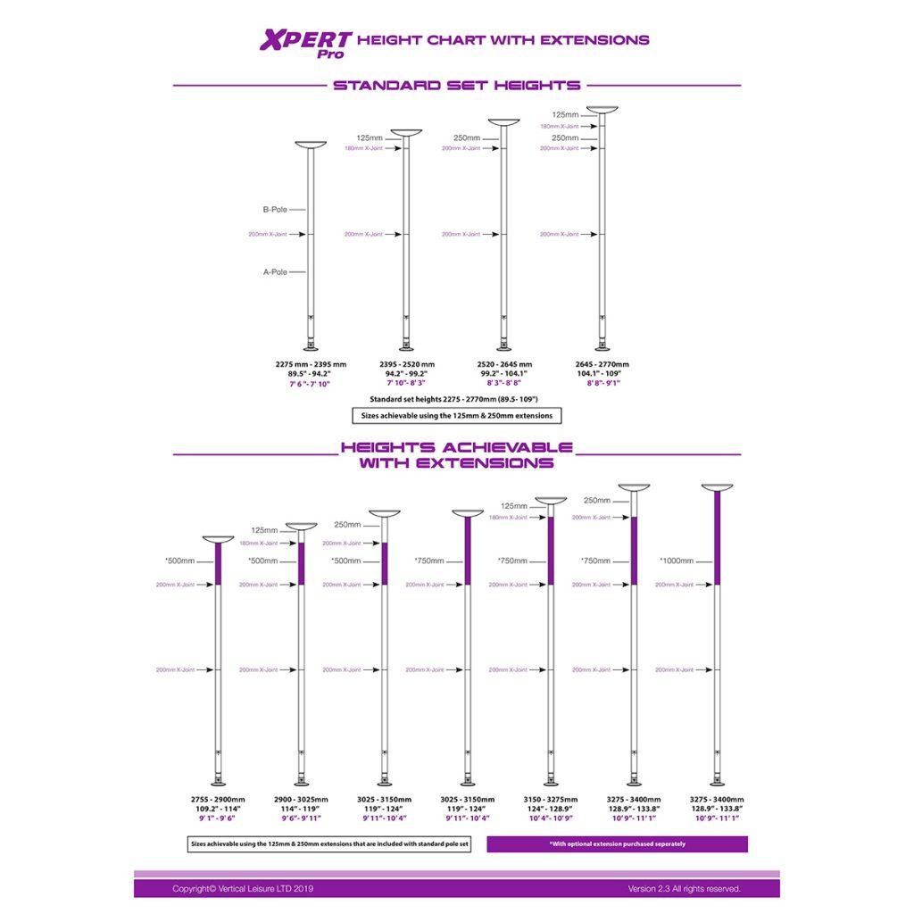 Xpert Pro Height chart dancing pole