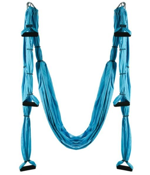 Yoga Swing with kit with ceiling mount, carry bag, carrabiners, and daisy chains.