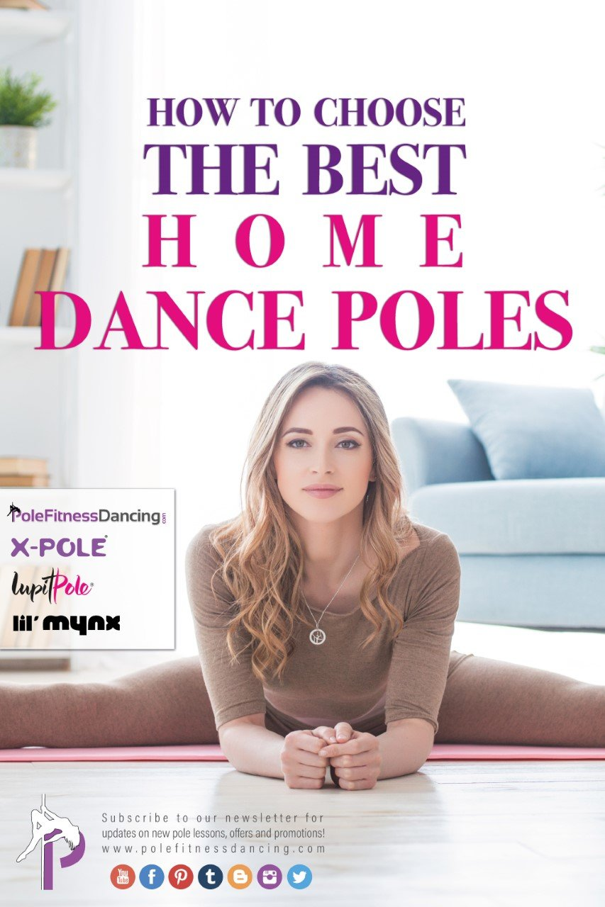 Woman researching how to buy choose the best dance pole for home studio use